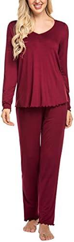 Ekouaer Women's Pj Set Sleepwear Two Piece Pajamas Tops with Long Sleep Pants Pjs Loungewear