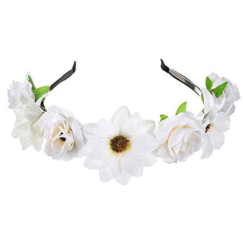 Memoirs- Bohemian Floral Headband Women Bridal Garland Handmade Wreath Headdress Wedding Headpiece Flower Hair Band For Girl (Eden Bridals Flower Girl Dresses)