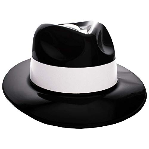 Windy City Novelties Black Plastic with White Band Gangster Hat Fedoras 12 Pack]()