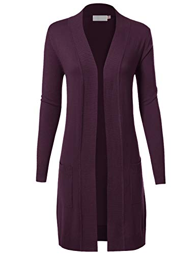 MAYSIX APPAREL Long Sleeve Long Line Knit Sweater Open Front Cardigan W/Pocket for Women Darkpurple S