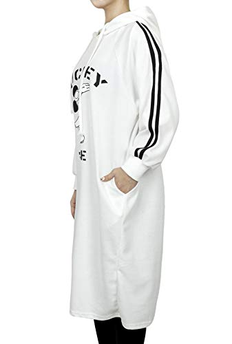 Sleeve Color Pullover Cotton Disney Hooded White Mickey Dress X Ililily Long aqngwRPqx