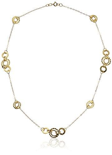 14k Yellow Gold Italian Multi-Circles Station Necklace, 18