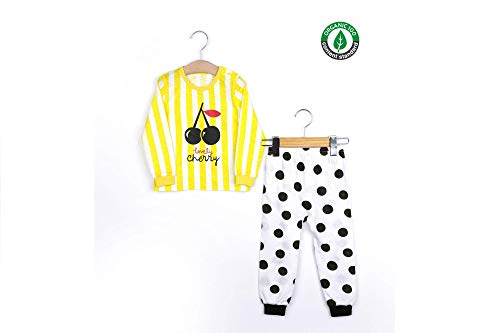 LINEANDLACE Little Girls Long Sleeve/Pants 2 Piece Pajama Set 100% Organic Cotton slub-Yellow Lovely Cherry (120 (4-5Y)) ()