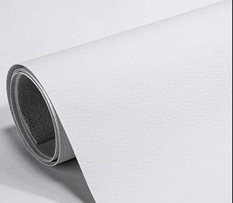 Pegatina de Cuero Artificial PU, Papel Pared Adhesivo Impermeable, cuero adhesivo para tapizar(Blanco)