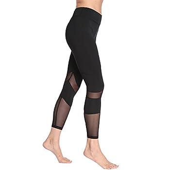 Feivo Yoga Pants, Women's Power Flex Yoga Pants Tummy Control Workout Yoga Capris Pants Leggings,mesh-black2,small 2