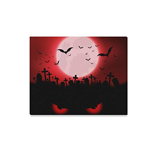 Wall Art Painting Halloween Background with Evil Eyes and Graveyard Prints On Canvas The Picture Landscape Pictures Oil for Home Modern Decoration Print Decor for Living Room -