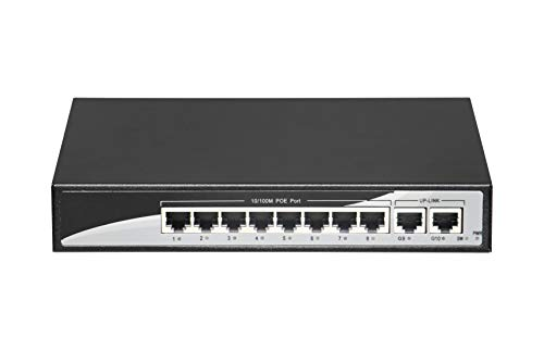 Port Router 10 (PoE Switch Gigabit, INTETREND 8 Ports PoE Switch for IP Cameras & 2 Gigabit Uplink Ports for Router & NVR, Unmanaged Smart Power Over Ethernet Switch, Plug & Play, Desktop, IEEE 802.3af/at 120W)