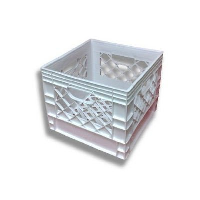 Small White Plastic Milk Crate 13x13x11