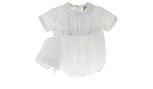 e5120662d159 Amazon.com  Friedknit Creations Boys White Christening Outfit With Hat Set  Belted Bubble Romper (6M)  Clothing