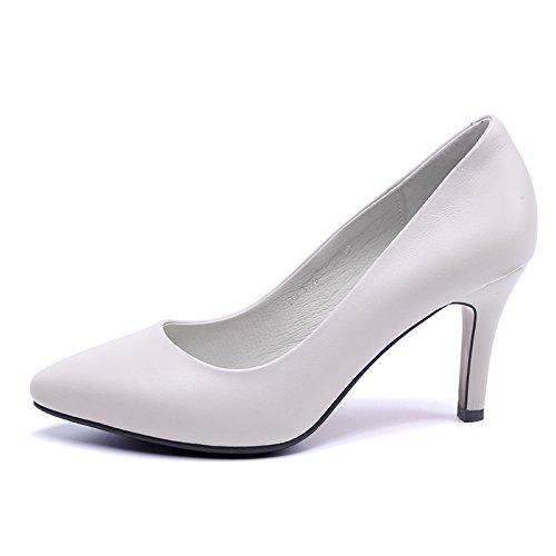 Jqdyl Tacones Zapatos de mujer Tacones lejanos Tacones finos Temperamento Salvaje Meter gray