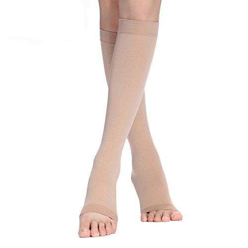 Compression Socks 20-30 mmHg (1 pair) for Women & Men Best Medical, Nursing, for Running, Athletic, Edema, Varicose Veins, Pregnancy & Maternity - Below Knee High Stockings Open-toe (L, Nude-open)