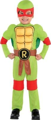 Amscan Teenage Mutant Ninja Turtles Raphael Muscle Halloween Costume for Toddler Boys, 3-4T, with Included Accessories