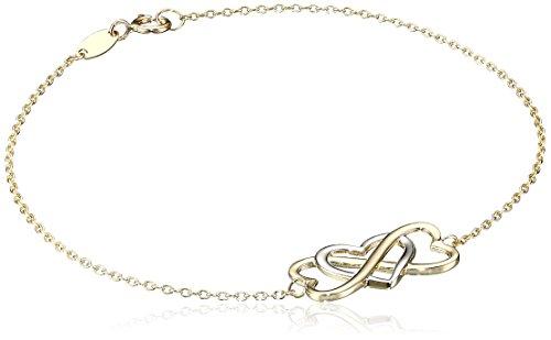 14k Gold Two-Tone Infinity Heart Bracelet, 7.25″