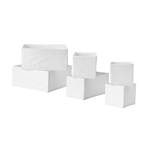Ikea Drawer Storage Organizer Box Bin Tote White (6 Piece)
