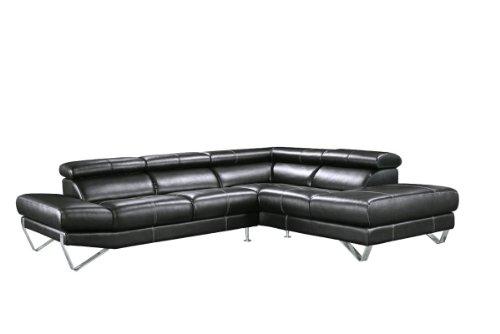 800 – Modern Black Italian Leather Sectional Sofa