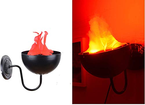 Beacon Pet Electric LED Flame 3D Fake Fire Lamp Eeffect Torch Light Campfire Centerpiece for Halloween Christmas Party Holiday Decoration (Wall-Mounted Lamp)
