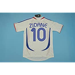 BROOK Zidane#10 France Away Retro Soccer Jersey Maillot 2006 WORLDCUP Patch