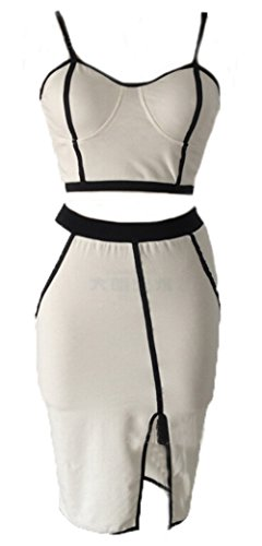 Womens Sexy Mesh High Waisted Cropped Top Two Pieces Bandage Bodycon Dress (M=US2)