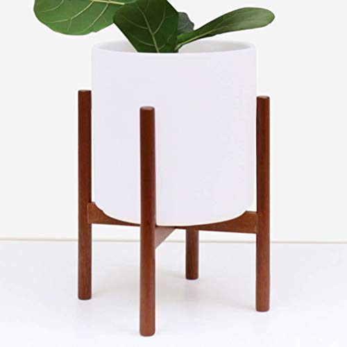 PEACH & PEBBLE Plant Stand with 11″ Planter – Flower Pot Included | Large Modern Plant Pot with Wood Stand | Perfect for Succulent Plants, Indoor Plants & Artifical Plants (11″ – White)