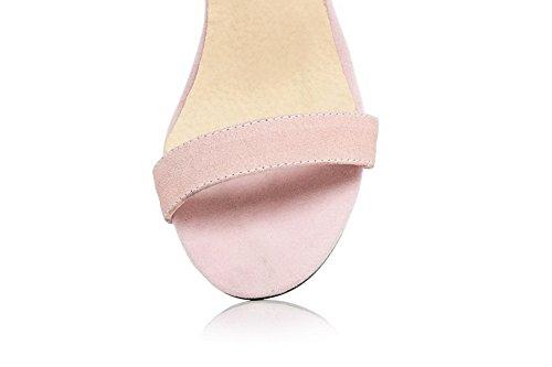 Aalardom Kvinna Fasta Nubuck Läder Spikar Stilettos Öppen Tå Spänne Sandaler Rosa