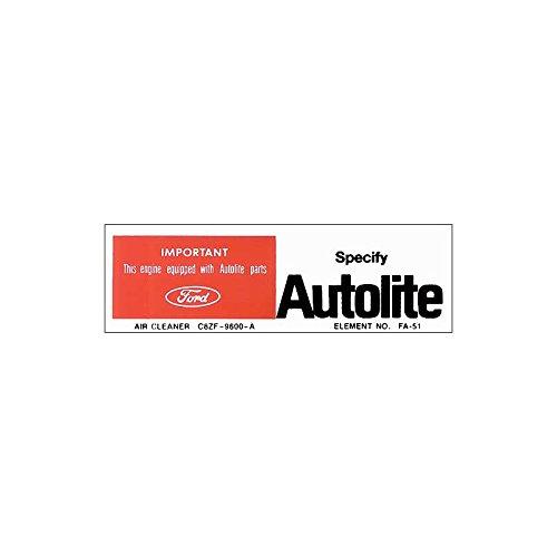 MACs Auto Parts 42-46956 Decal - Air Cleaner - Autolite Parts - 200 - # C8ZF-9600-A