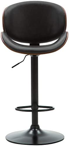 G-house Bentwood Barstool Set of 2, Adjustable Height Chair with Curved Back and Black Vinyl Seat