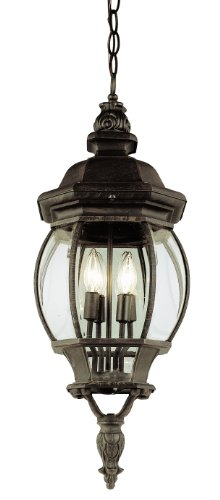 Collection Black Moss Finish - Trans Globe Lighting 4067 RT Outdoor Hanging Pendant with Beveled Glass Shades, Rust Finished