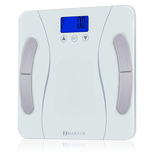MARNUR Bathroom Weight Scale Body Fat Scale BMI Smart Digital Scale with Body Composition Analyze Monitor 400 pounds Body Tape Measure Included ()