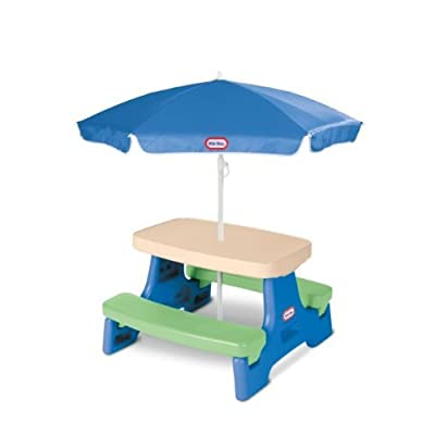 Savings Supreme Kids Play Table with Umbrella Children Outdoor Junior Picnic Tables Child Blue Green Toddler Play Fun Playset New: Toys & Games