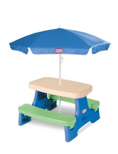 Savings Supreme Kids Play Table with Umbrella Children Outdoor Junior Picnic Tables Child Blue Green Toddler Play Fun Playset New (Picnic Tables With Umbrella)