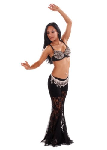 Belly Dance Tribal Lace Pants, Spiked Bra, & Cast Iron Belt Costume Set | Tribu Melange - Pants(Extra Large) - Top(Extra Large) (Spiked Bra Costume)