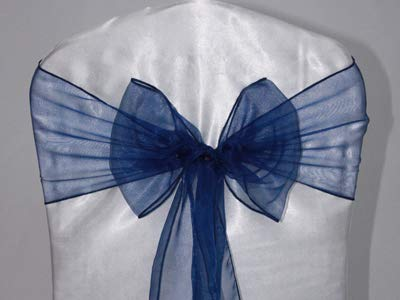 SARVAM FASHION SF New Pack of 10 Chair Decorative Organza Sashes Bow Designed for Wedding Events Banquet Home Kitchen Decoration - (10, Navy Blue)