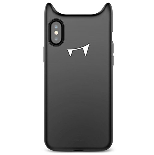 Giosio for iPhone X Case Cute Lovely Naughty Funny Devil Vampire Horn Horns Monster Demon Halloween Toy Cartoon Soft Silicone Shockproof Cover for iPhone X Black -