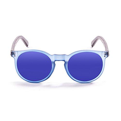 Ocean Sunglasses Lizard Lunettes de soleil White Transparent Frame/Wood Dark Arms/Revo Blue Lens pqiHLt0