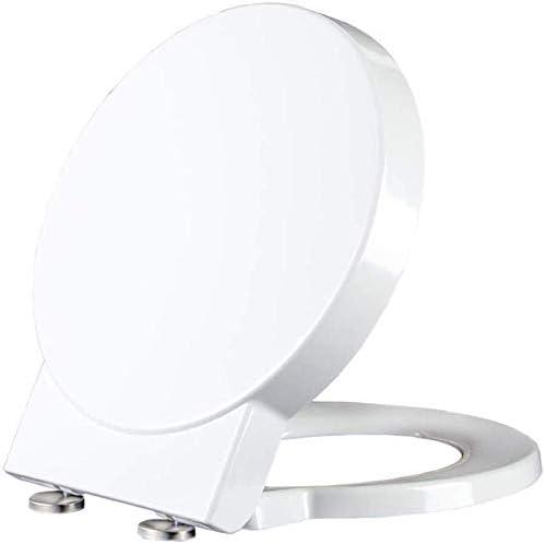 FJFWY便蓋 スロー閉じるリリースで便座ユニバーサル便座は抗菌トップは家族の使用、ホワイト-45 * 40センチメートルのために取り外し可能なイージークリーンOスタイルのトイレのふたをマウントヒンジ
