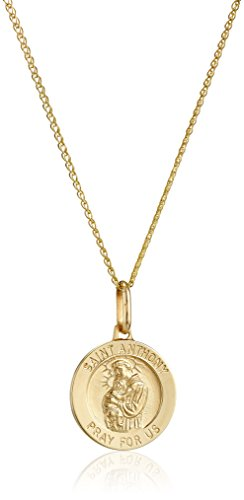 14k Yellow Gold Saint Anthony Medal, 18""