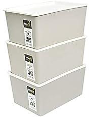 HOUZE SB-1502-3 Linear Box with Lid,GREY,12L ,Set Of 3