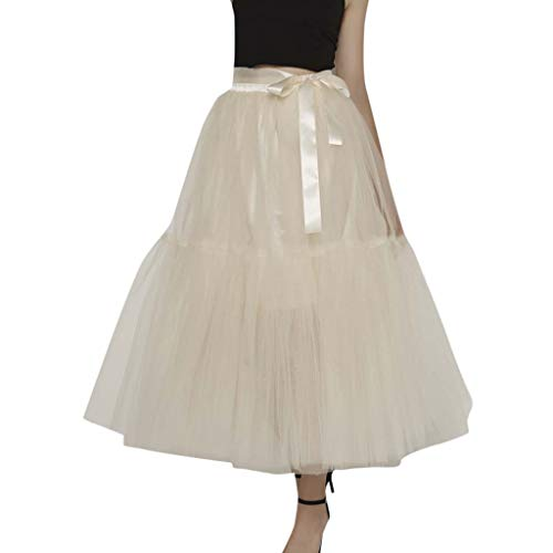 Thenxin Women's Layered Tulle Tutu Skirt Bridesmaid Princess Skirt Tie Knot Bubble Ball Gown Skirt (Beige,Free - Tie Knot Ball