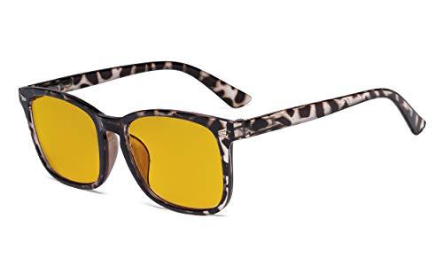 Eyekepper Blue Light Blocking Glasses with Amber Tinted Filter Lens - Square Nerd Computer Eyeglasses - Tortoise