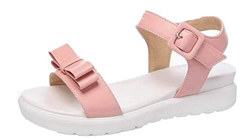 VogueZone009 Women Low-Heels Buckle Open-Toe Sandals,CCALP015577 Pink