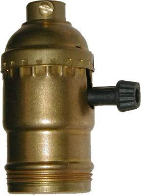 Antique Style On-Off Lamp Turn Knob Socket With Brass Shell + Slotted Set Screw | Lamp Parts Socket with Switch, Lamp Replacement Parts, Threaded Lamp Socket LS-167