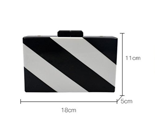 Bag Bag Dinner Black Striped Women Bags Acrylic Black Bags Shoulder Rectangular Messenger Wenl For color Two wz7SH