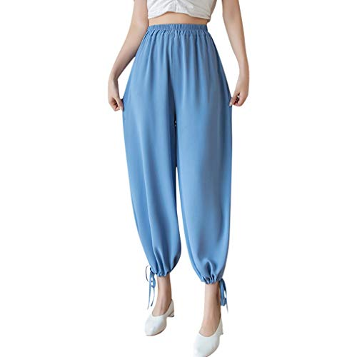 Fashion Pants for Women,High-Waist Chiffon Solid Color Wide-Legged Lantern Pants Casual Loose Trousers(Blue,L)