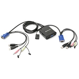 IOGEAR 2 Port USB Cable KVM Switch with Audio and Mic (GCS72U)