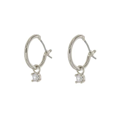 - Columbus Rhodium Dipped Huggie Hoop Earrings - Moon, Star and Lightning Bolt Charms (Silver Solitaire Charm)
