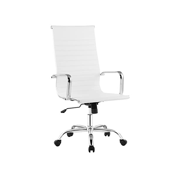Sedia schienale alto girevole in PU bianco Sedia schienale alto girevole regolabile in altezza Rosso