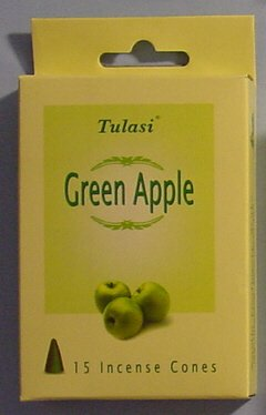 Tulasi Incense Cones - 15 Cones (Green (Tulasi Cone)