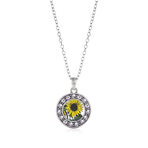 Inspired Silver - Sunflower Charm Necklace for Women - Silver Circle Charm 18 Inch Necklace with Cubic Zirconia Jewelry