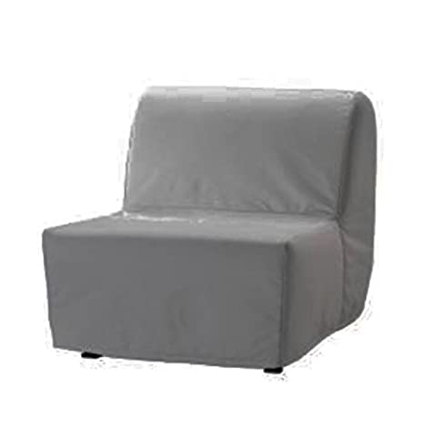 Replace Cover for IKEA Lycksele Chair Bed , 100% Cotton Sofa Cover for Lycksele Single Bed (Gray)