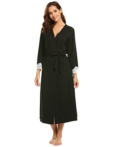 Ekouaer Women's Kimono Robe Short Lightweight Viscose Knit Long Bathrobe, Lace-long-black, Large (Kimono Jersey)